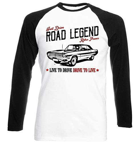 Teesandengines Men's Dodge Dart Swinger Convertible 1970 Road Legend Black Long Sleeved T-Shirt Size Medium