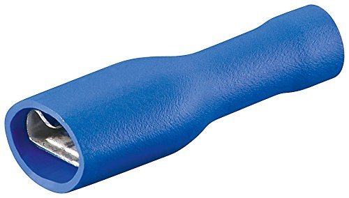Flachsteckhülsen blau, voll isoliert 6,4 mm 1,5 - 2,5 mm² VPE 100 Stück