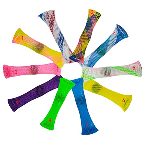 BSTEle 10 unids Fidget Juguetes Malla de mármol Fidget Toy Trenzado Tubo de Malla con Alivio de estrés de mármol Juguete de Juguete Sensorial de Juguete Mármol para Adultos Niños