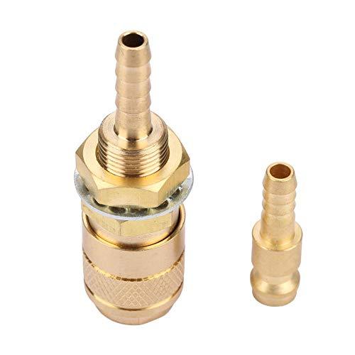 Adaptador refrigerado por Agua - Conector rápido de Gas y Agua M6 para antorcha de Soldador MIG TIG Accesorio para antorcha de Soldadura(Oro)