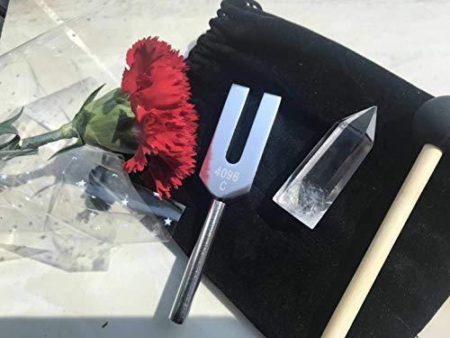 QIYUN 音叉 チューナー 4096HZ マレット セット 水晶ポイント・ケース付 クリスタルチューナー 水晶ポイント 天使の扉 4096hz 浄化 天然水晶 浄化用 5点 セット
