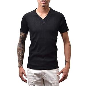 [JOKER Select(ジョーカーセレクト)] ランダムテレコVネックカットソー モード きれいめ 細身 半袖 七分袖 長袖 L(半袖) ブラック