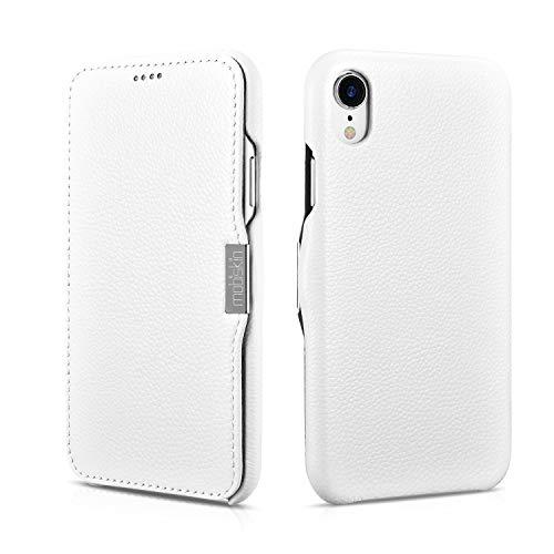 Mobiskin Hülle kompatibel mit Apple iPhone XR (6,1 Zoll), Handyhülle mit echtem Leder, Hülle, Schutzhülle, dünne Handy-Tasche, Slim Cover, Weiß