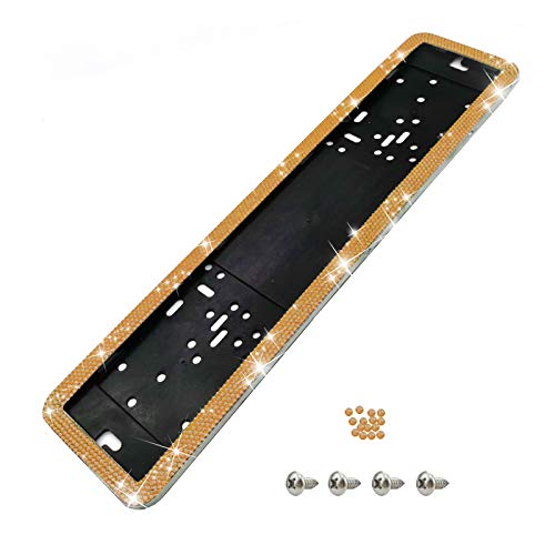 1 X Surrounds License Plate Holder 4 X Screws Holder Frame, For All Cars, Stainless Bling Crystal Rhinestone Plate Holder, Oblong, Detachable Number Plate Holder Anti Theft (yellow)