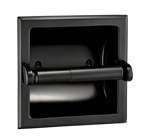 Designers Impressions Black Recessed Toilet/Tissue Paper Holder All Metal Contruction - Mounting Bracket Included