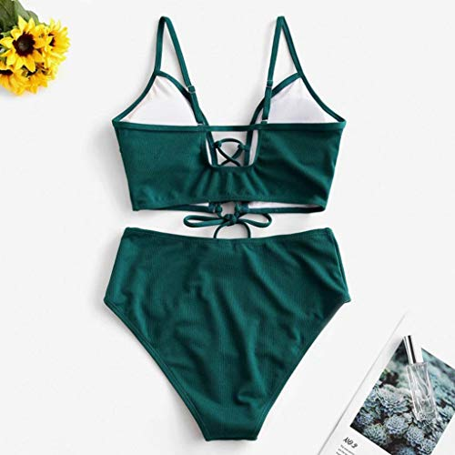 Dicomi Women's Swimsuit Fashion Bikini Set Two Piece Lace-up Floral Leaf Tankini Swimwear Green