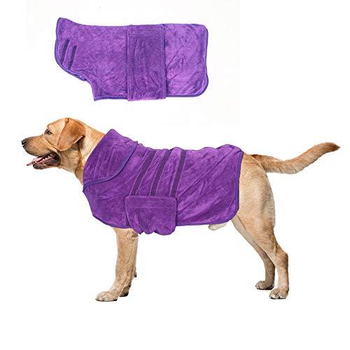 Minjie Hunde-Bademantel aus Mikrofaser für Hunde oder Katzen, trocknet Feuchtigkeit und absorbierendes Handtuch, schnell trocknend, für Hunde oder Katzen, Violett