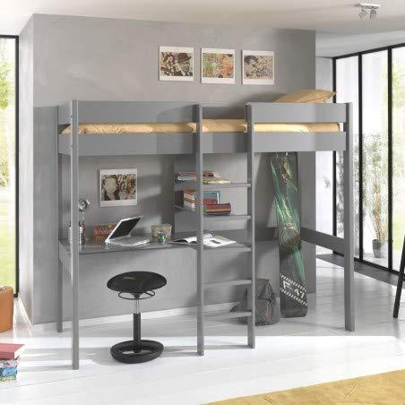 Alfred & Compagnie - Cama con estantes (madera de pino), color gris