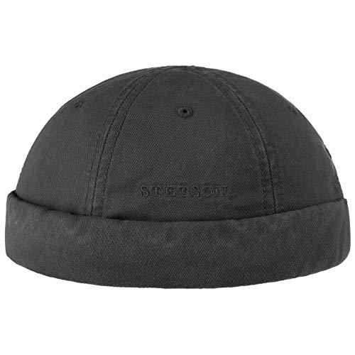 Stetson Ocala Baumwoll Dockercap Herren - Dockermütze aus 100% Baumwolle - Mütze in L (58-59 cm) - Cap in Schwarz - Docker mit UV-Schutz 40