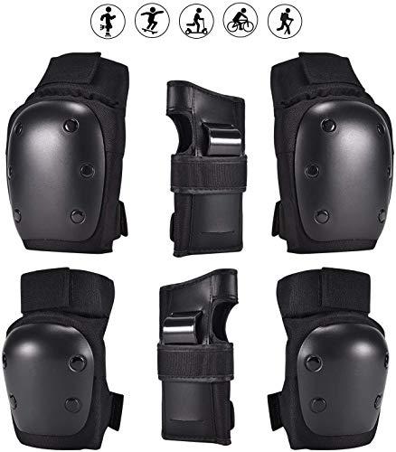 6 in 1 Profi Schutzausrüstung Knieschoner Protektoren Set für Kinder & Erwachsene, Verstellbar Knieschoner Ellenbogenschützer Handgelenkschoner für Radfahren Roller BMX Skateboard (Schwarz, M)