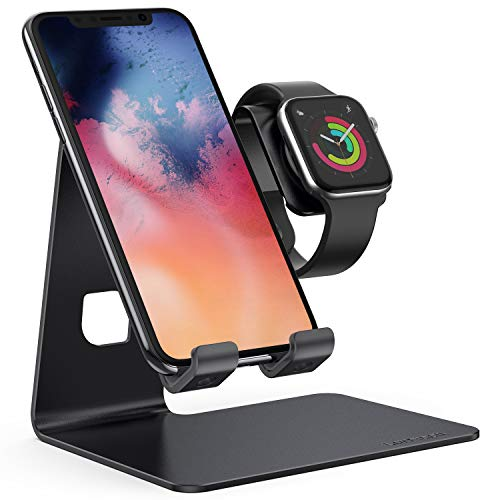 Stand for Apple Watch Phone Holder 2 in 1 : Lamicall Desktop Stand Holder Charging Station Dock Compatible with Apple Watch Series 5/4/3/2/1, and Phone 11 Pro/Xs/X Max/XR/X/8/8Plus/7/7 Plus /6S Plus