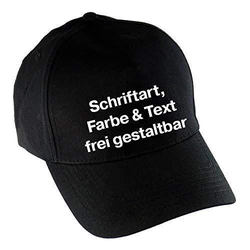 Multifanshop Baseballcap Cap Kappe inkl. Druck vorne (Anpassung von Text, Schriftart, Schriftfarbe und Artikel Farbe) Bedrucken gestalten, Farbe:schwarz