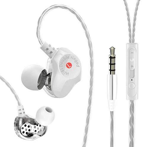 TIES イヤホン 有線 マイク付き ノイズキャンセリング イヤフォン ヘッドホン ハイレゾ 重低音hi-res 遮音 通勤 ゲーミング 通話 音楽 携帯 スマホ イヤホンマイク Android/iPhone/PC多機種対応 金属制 (白色2)