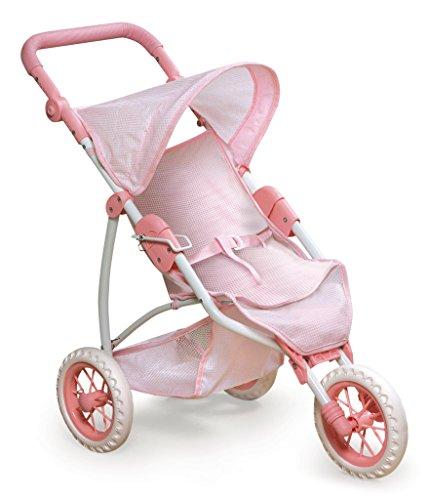 Badger Basket Three Wheel Doll Jogging Stroller (fits American Girl Dolls), Pink/White (9960)