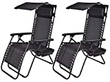BTEXPERT 15044B-2 Two Pack, utillity Cup Holder Zero Gravity Chair Case Lounge Patio Pool Beach Yard Garden, Black with Canopy
