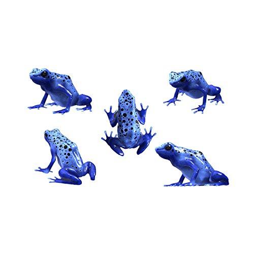 5 Blue Poison Dart Frog Decals - Sizes shown on Size Chart Below