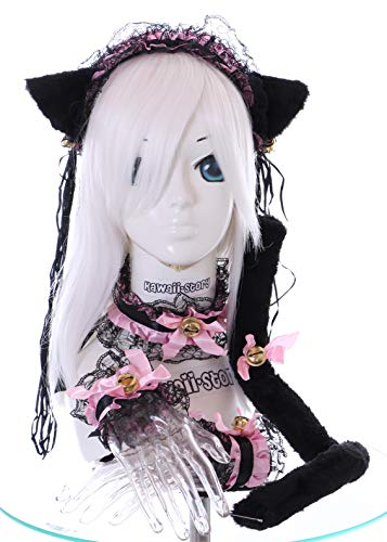 Kawaii-Story C-12-2 Schwarz Rosa Gothic Lolita Maid Katzen Ohren Haarband Halsband Armband Schwanz Set Cosplay