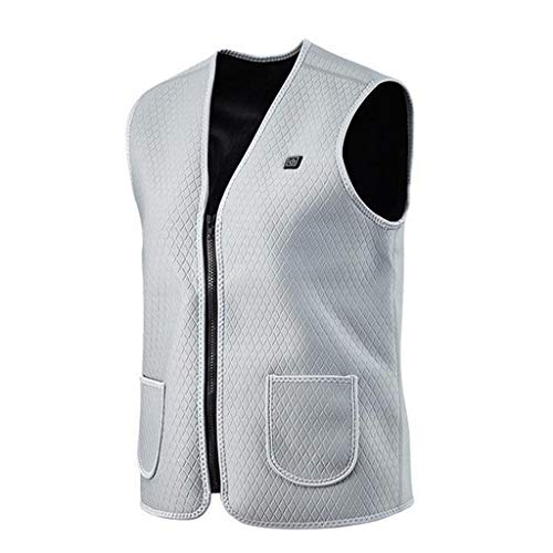 Best Bargain Dainzuy Men Women Sleeveless Pocket Vest with Wool Winter Loose Vest Warmer Heating Pad...