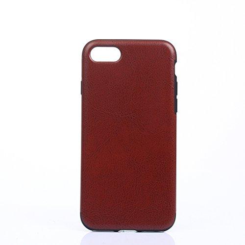 Wakaha La Caja del teléfono for iPhone 8 y 7 Caballo Loco Textura Suave protección PU Cubierta del teléfono (Color : Brown)