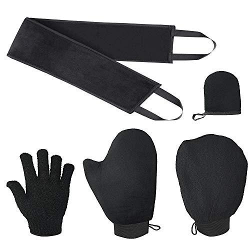 LYTIVAGEN Juego de Aplicador Autobronceador 5 en 1 Aplicador de Bronceado con Guante Exfoliante, Guante Autobronceador, Aplicador de Espalda, Mini Guante Facial, Guantes de Cinco Dedos (Negro)