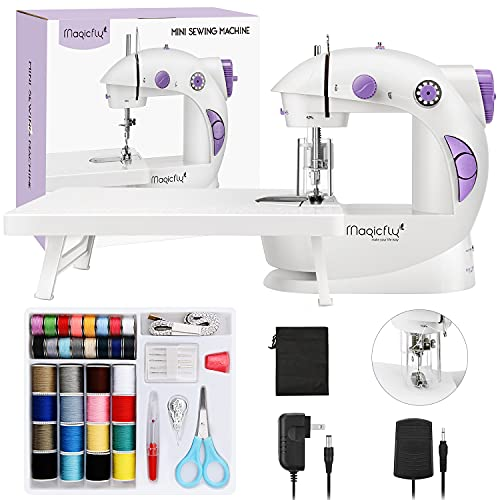Magicfly Mini Sewing Machine for Beginner, Dual Speed Portable Sewing Machine Machine with Extension Table, Light, Sewing Kit for Household, Travel