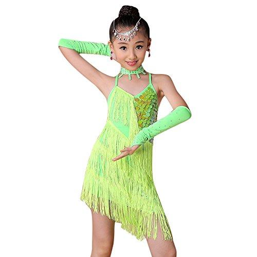 Harpily Vestito Ballo Bambina Ragazze Latino Danza Abito Vestiti da Latino delle Ragazza da Ballo del Ballo della Sfera di Ballo del Vestito Backless dalla Frangia Latina (Verde, 130)