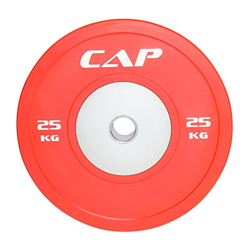 "CAP Barbell Olympic Rubber Bumper Plate with Steel Hub 2"" (Single), Red, 25 kg"