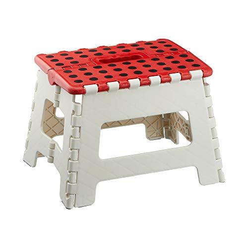 Cepewa - Taburete plegable para jardín, 1 taburete plegable de color blanco y rojo.