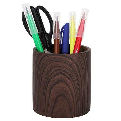 MoKo Stifteköcher, Schreibtisch Organizer Make-up Pinselhalter Aufbewahrung mit Modisch Design Stiftablage für Zuhaus, Büro, Klassenzimmer - Dunkel Braun