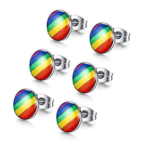 Stainless Steel Fashion Rainbow Ear Stud Earring for Gay & Lesbian Pride(3pairs)