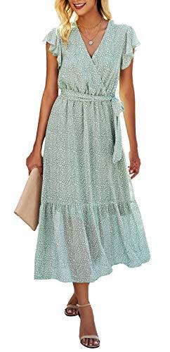 Light green midi boho dress