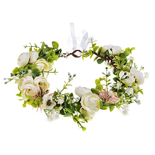June Bloomy Bridal Flower Headband Rose Floral Crown Girls Boho Garland Halo Maternity Photo Prop (P-White)