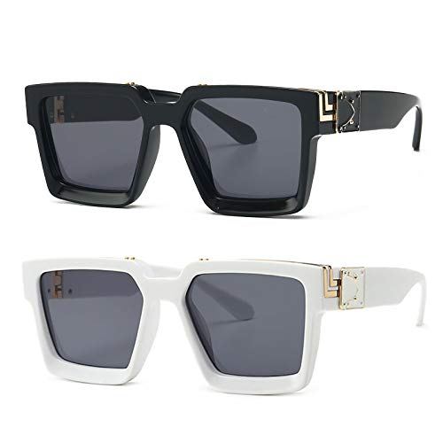 2 Stück Retro Millionaire Sonnenbrille Square Metal Punk Rock Hip Hop Sonnenbrille Männer Frauen