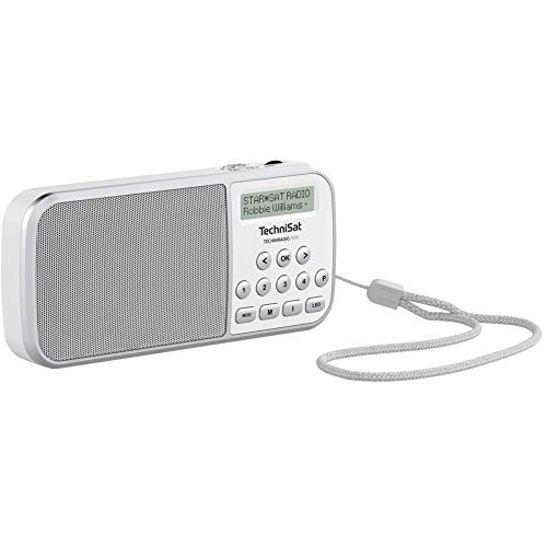 TechniSat TECHNIRADIO RDR – portables DAB+/UKW Radio (LCD-Display, Favoritenspeicher, Direktwahltasten, Kopfhöreranschluss, USB, AUX-in, LED-Taschenlampe, wechselbarer Akku, 1 Watt) weiß