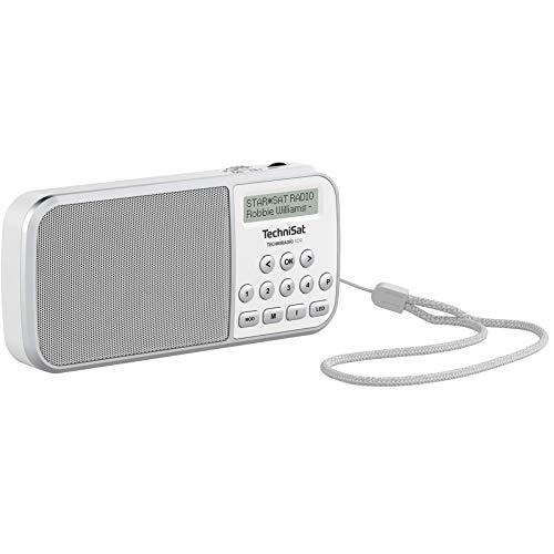 TechniSat TECHNIRADIO RDR – portables DAB+/UKW Radio (LCD-Display, Favoritenspeicher, Direktwahltasten, Kopfhöreranschluss, USB, AUX-in, LED-Taschenlampe, wechselbarer Akku, 1 Watt) weiß