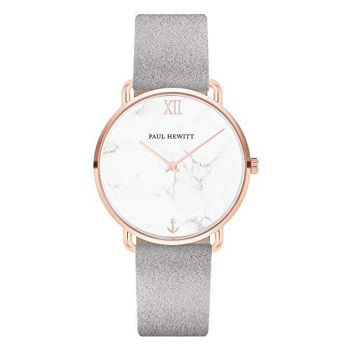 PAUL HEWITT Armbanduhr Damen Miss Ocean Marble - Damen Uhr (Rosegold), Damenuhr mit Stoffarmband (Grau), Ziffernblatt im Marmor-Style