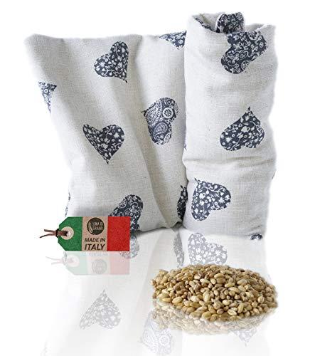 Mikrowellen-Wärmekissen, hergestellt in Italien, Heizkissen, Weizensamen, warmes Kissen, Nackenwärmer, Nackenwärmer, Blau