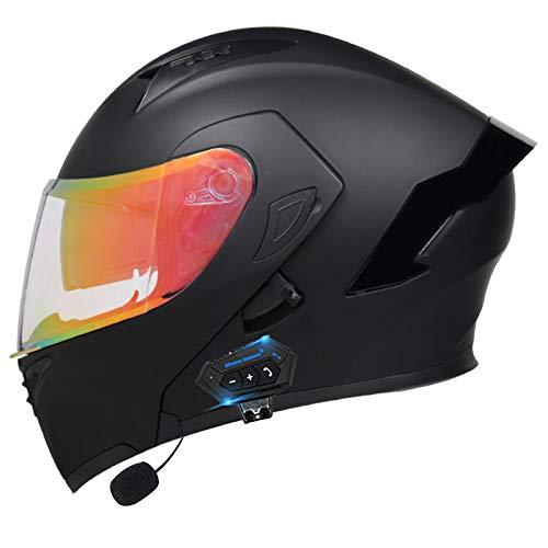 Bluetooth Integrado Casco de Moto Modular con Doble Visera Cascos de Motocicleta ECE Homologado a Prueba de Viento para Adultos Hombres Mujeres Abatible Casco C,M