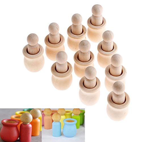 10PCs Wood Peg Dolls Wooden Figures, Mini People Unfinished Wooden DIY Craft Toy Set Decoration Unpainted Blank Wooden Peg People, Nesting Set Peg Dolls Crafts DIY, Toy Wedding Home People Shapes