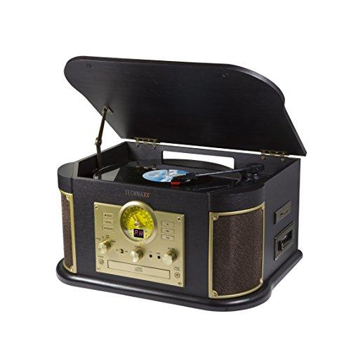 Technaxx 4755 Nostalgie Bluetooth Plattendigitalisierer All-in-One TX-103 von LPs und Audiokassetten braun
