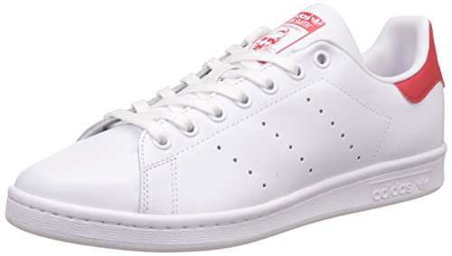 adidas Unisex-Erwachsene Stan Smith Sneakers , Weiß (Running White Ftw/Running White Ftw/Collegiate Red) , 43 1/3