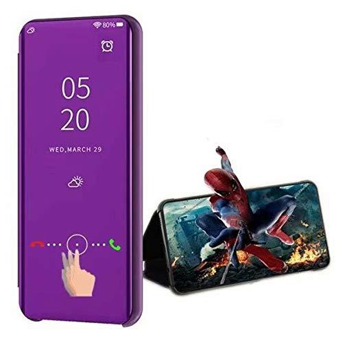 XJZ kompatibel mit Oppo Realme 5/Realme 5S Smart Hülle(2019)+3D Panzerglas/Schutzhülle Premium Mirror Flip ständer Handyhülle Ultra Dünn Hülle Tasche Stoßstange für Oppo Realme 5-Violett