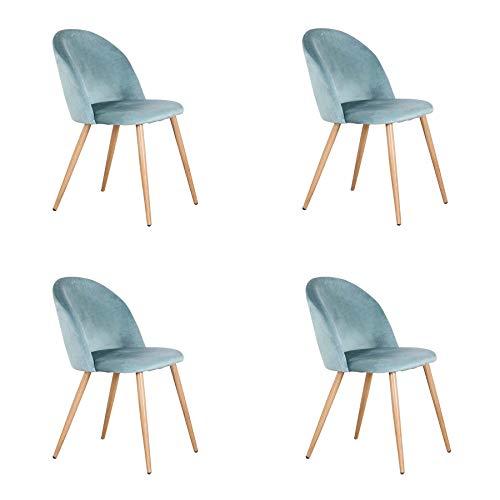 EGOONM Juego de 4 sillas de Comedor de Terciopelo ,Cojines de Terciopelo Suave Asiento,Sillas de Cocina para Comedor y Sala de Estar (Verde-4)