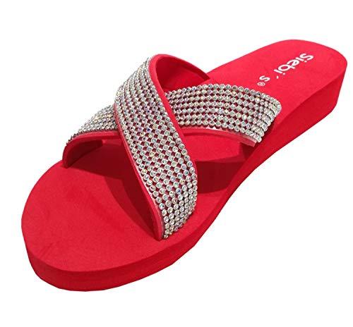 Siebi's Nizza Modische Strandschuhe Badeschuhe Pantoletten mit Plateau und extra leicht: Größe: 41 EU | Farbe: Rot