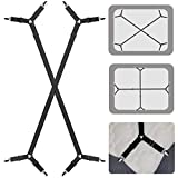 ZHOUBIN Sheet Holder Straps, Fitted Sheet Clips, Bed Sheet Fasteners for Corner, Adjustable Elastic Band Sheet Suspenders Grippers for All Mattress, Keep Bedsheets in Place