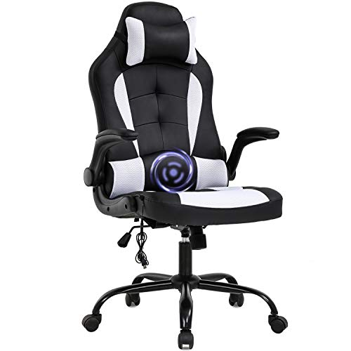 PC Gaming Chair Massage Office Chair Ergonomic Desk Chair Racing Executive PU Leather Computer Chair with Lumbar Support...