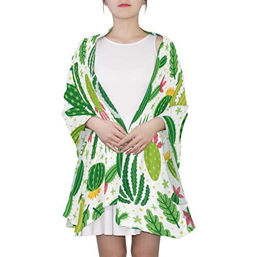 Helle wiederholte Textur mit grünem Kaktus Einzigartiger Mode-Schal für Frauen Leichte Mode Herbst Winter Print Schals Schal Wraps Geschenke für den Vorfrühling