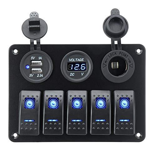 RF Electrónica Panel Eléctrico, Interruptores para Barco, Barco, Roulotte, Camper, 5 Botones, 12V/24V con Voltímetro, 2 USB, Retroiluminación LED Azul