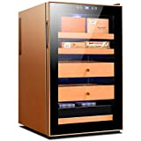 ZLSANVD Cigar Box Thermoelectric Cigar Cooler Humidor Spanish Cedar Wood Cigar Cabinet Touch Screen Control Display Humidity Steel Frame Cigar Accessories (Color : Gold)