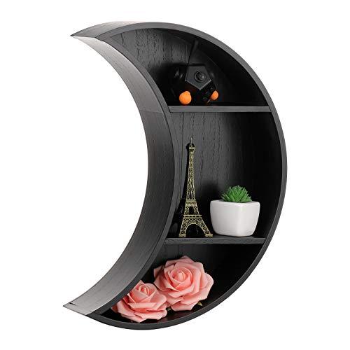 KHBNHJ Estante flotante de la pared de la luna, 2 estantes montados en la pared con 2 estantes pequeños decoración de la pared de la luna flotante estante de la sala de estar, cocina, negro